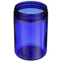 25 oz Cobalt Blue PET Plastic  Round Jar - 89-400 Neck Finish - Angled View