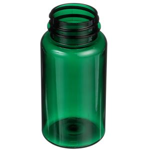 150 cc Dark Green PET Plastic Round Packer Bottle - 38-400 Neck Finish - Angled View