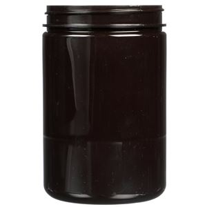 25 oz Dark Amber PET Plastic Round Jar - 89-400 Neck Finish - Front View
