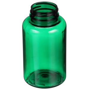 200 cc Dark Green PET Plastic Round Packer Bottle - 38-400 Neck Finish - Angled View