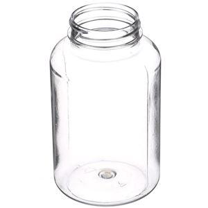 300 cc Clear PET Plastic Round Packer Bottle - 45-400 Neck Finish - Angled View