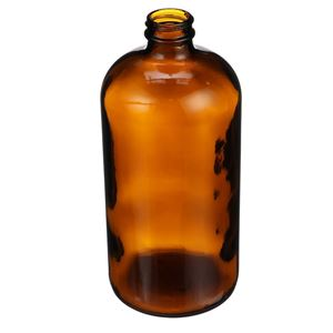 32 oz Amber Glass Boston Round Bottle - 33-400 Neck Finish - Angled View