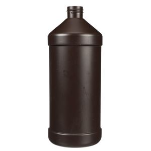 32 oz Peroxide Brown HDPE Plastic Modern Round Bottle - 28-410 Neck Finish - Front View