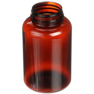 300 cc Light Amber PET 100% PCR Plastic Round Packer Bottle - 45-400 Neck Finish - Angled View