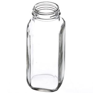8 oz French Square Clear Glass Bottle - Angled View