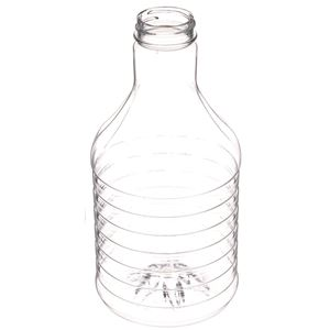 32 oz Clear PET Plastic Round Carafe/Decanter - 38-400 Neck Finish - Angled View