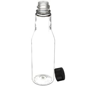 6 oz PET Sauce Bottle with BA505 FS Lined Black Closure - Angled View