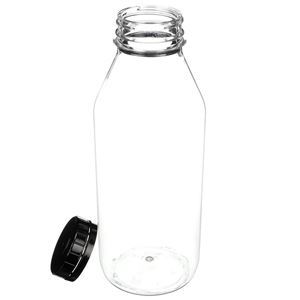 32 oz PET Beverage Bottle with 48-400 Black Tamper Evident Closure - Angled View