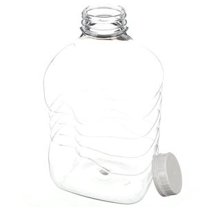 64 oz PET Beverage Bottle with 48-400 White Tamper Evident Closure -  Angled View