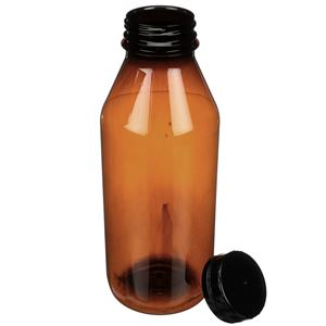 32 oz Amber PET Beverage Bottle with 48-400 Tamper Evident Closure - Angled View