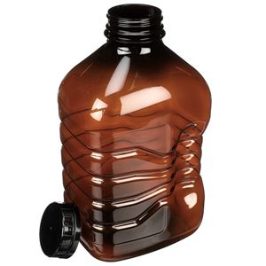 64 oz Amber PET Beverage Bottle with 48-400 Black Tamper Evident Closure - Angled View