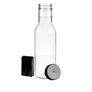2 oz PET Sauce Bottle with F217 Lined Black Closure, Black Shrink Band