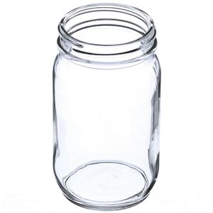 8 oz Clear Glass Round Economy Jar - 58-400 Neck Finish - Angled View