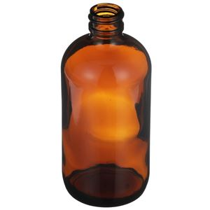 8 oz Amber Glass Boston Round Bottle - 24-400 Neck Finish - Angled View