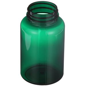 250 cc Dark Green PET Plastic Round Packer Bottle - 45-400 Neck Finish - Angled View