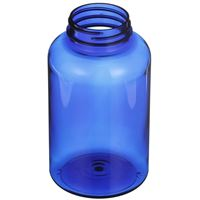 400 cc Cobalt Blue PET Plastic Round Packer Bottle - 45-400 Neck Finish - Angled View