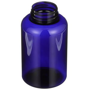 500 cc Cobalt Blue PET Plastic Round Packer Bottle - 45-400 Neck Finish - Angled View