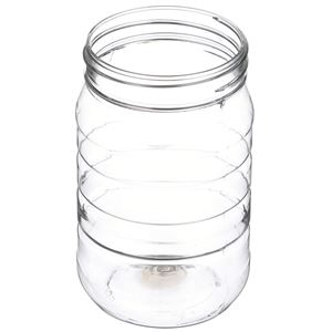 16 oz Clear PET Plastic Round Ribbed Jar - 70-470 Neck Finish - Angled View
