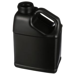 1 Gallon Black HDPE Handleware Oblong - Slant Handle - 63-485 Neck Finish - Angled View