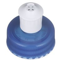 28-400 Push/Pull Dispensing Linerless Blue/White Plastic Closure - 4 Hole Orifice - Angled View