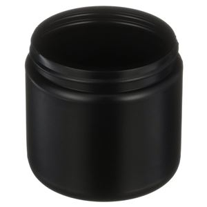 16 oz Black HDPE Plastic Jar Round - 89-400 Neck Finish - Angled View