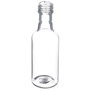 50 ml Clear PET Plastic Round Single Serve Liquor/Spirits Bottle - 18mm ROPP Neck Finish - Angled View