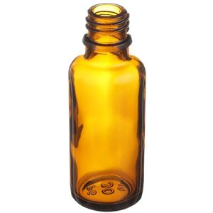 30 ml Amber Glass Euro Dropper Bottle - 18mm DIN Neck Finish  - Angled View