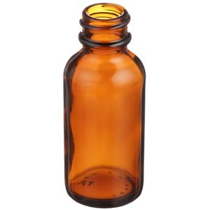 1 oz Amber Glass Boston Round Bottle - 20-400 Neck Finish - Angled View