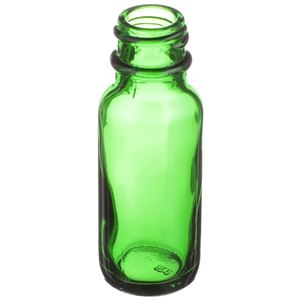 0.5 oz Green Glass Boston Round Bottle - 18-400 Neck Finish - Angled View