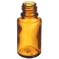 15 ml Amber Glass Euro Dropper Bottle - 18mm DIN Neck Finish - Angled View