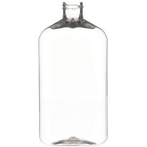 500 ml Clear PET Plastic Oblong Straight Sided Bottle - 28-410 Neck Finish - Front View