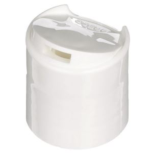 24-410 Press Top Dispensing Lined White P/P Plastic Closure - Front Open View