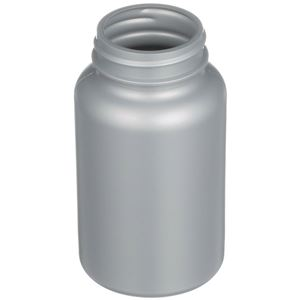225 cc Silver HDPE Plastic Round Packer Bottle - 45-400 Special Neck Finish - Angled View