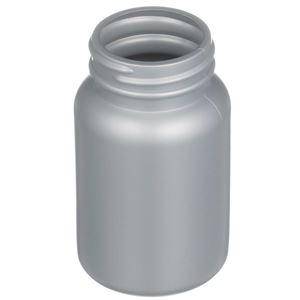 150 cc Silver HDPE Plastic Round Packer Bottle - 45-400 Special Neck Finish - Angled View