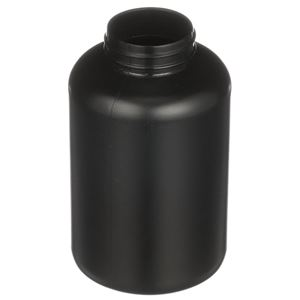 500 cc Black HDPE Plastic Round Packer Bottle - 45-400 Neck Finish - Angled View