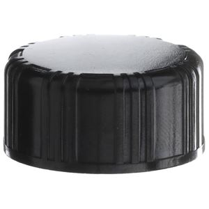 20-400 Continuous Thread Lined Black Phenolic Plastic Closure - PRVTLF Liner - Front View