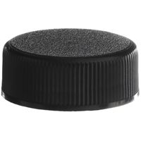 8-400 Continuous Thread Lined Black P/P Plastic Closure - PE Foam Liner - Front View