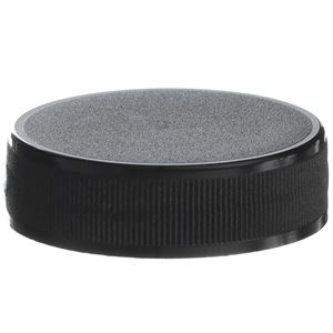38-400 Continuous Thread Lined Black P/P Plastic Closure - F217 Foam Liner - Side View