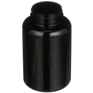 300 cc Black PET Plastic Round Packer Bottle - 45-400 Neck Finish - Angled View