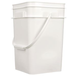 4.25 Gallon White HDPE Plastic Square Pail with Plastic Swing Handle - Side View