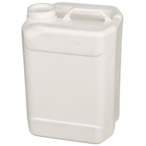 2.5 Gallon Oblong White HDPE Handleware Bottle  - 70mm Rieke Neck Finish - Angled View