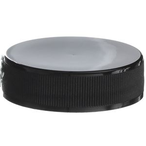 38-400 Continuous Thread Lined Black P/P Plastic Closure - LP-E U5 Esterfoam Liner - Front View