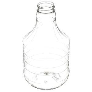 2 oz Round Clear PET Plastic Carafe/Decanter Bottle - 38-400 Neck Finish - Angled View