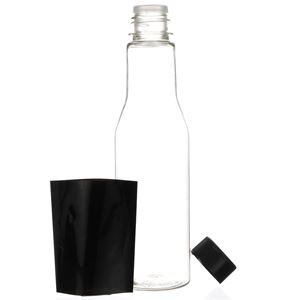6 oz PET Sauce Bottle with F217 Lined Black Closure, Fitment, Black Shrink Band - Front View