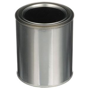 1 Quart Silver Metal Friction Fit Unlined Round Can with Metal Lid - Angled View