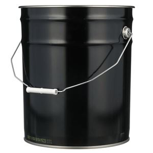 5 Gallon Black Steel Round UN Rated 24 Gauge Pail with Metal Swing Handle - Front View