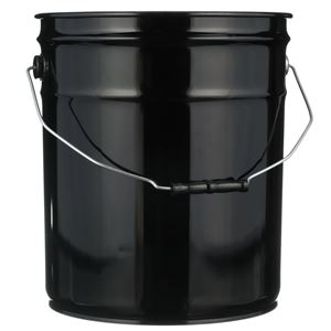 5 Gallon Black Steel Round UN Rated 26/28 Gauge Pail with Metal Swing Handle - Front View
