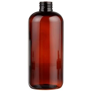 32 oz Light Amber PET Plastic Boston Round Bottle - 28-410 Neck Finish - Front View