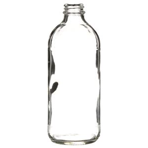 16 oz Clear Glass Fluted Utility Round Bottle - 28-400 Neck Finish - Front View