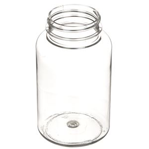 250 cc Clear PET Plastic Round Packer Bottle - 45-400 Neck Finish - Angled View